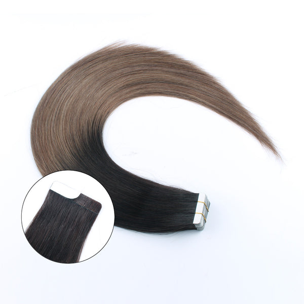 Tape in Hair Extensions Ombre Tone Darkest Brown Fading to Light Chestnut Brown T2-6