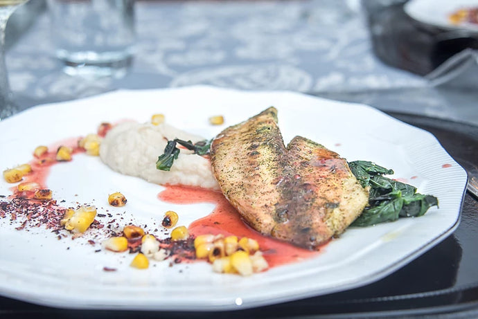 Moringa Cured Tilapia with Orange Hibiscus Butter Sauce