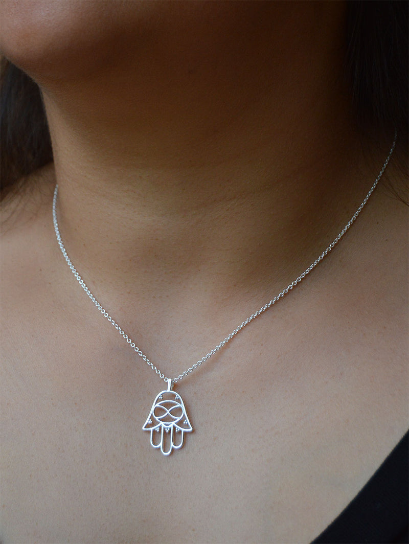 Hamsa Silver or Gold Plated Necklace