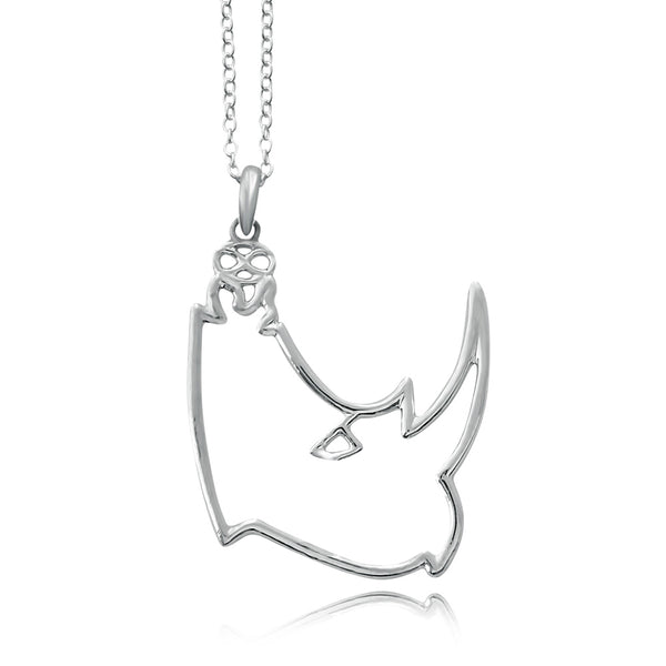 Kifaru Rhino Silver or Gold Plated Necklace