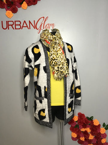 Yellow cheetah cardigan