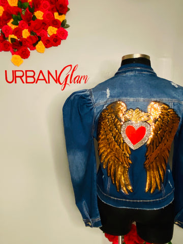 Angle wings plus size denim jacket
