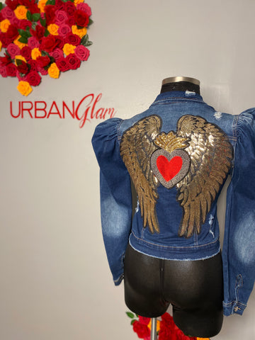 Angel wings denim jacket
