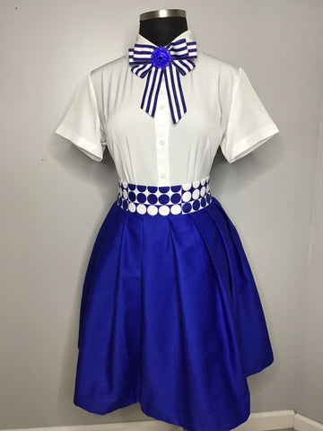 This royal blue polka dot skirt