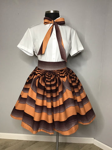 Chocolate swirl skirt and matching bow tie