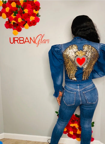 Angel wing /with studs denim jacket