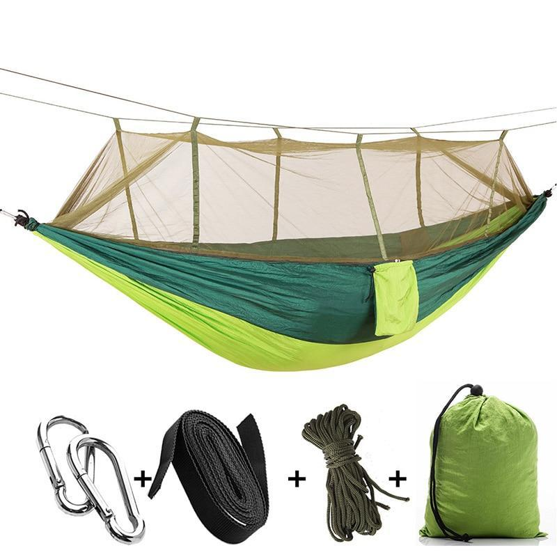 Portable Outdoor Camping Hammock with Mosquito Net High Strength Parachute Fabric - GoPositivo