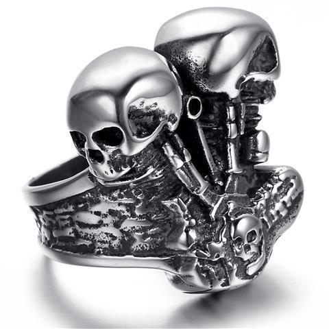 Hells Angels - Two Skull Engine Heads Rings - GoPositivo