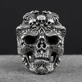 Pure Silver Triple Skull Ring ( Size Adjustable ) - GoPositivo