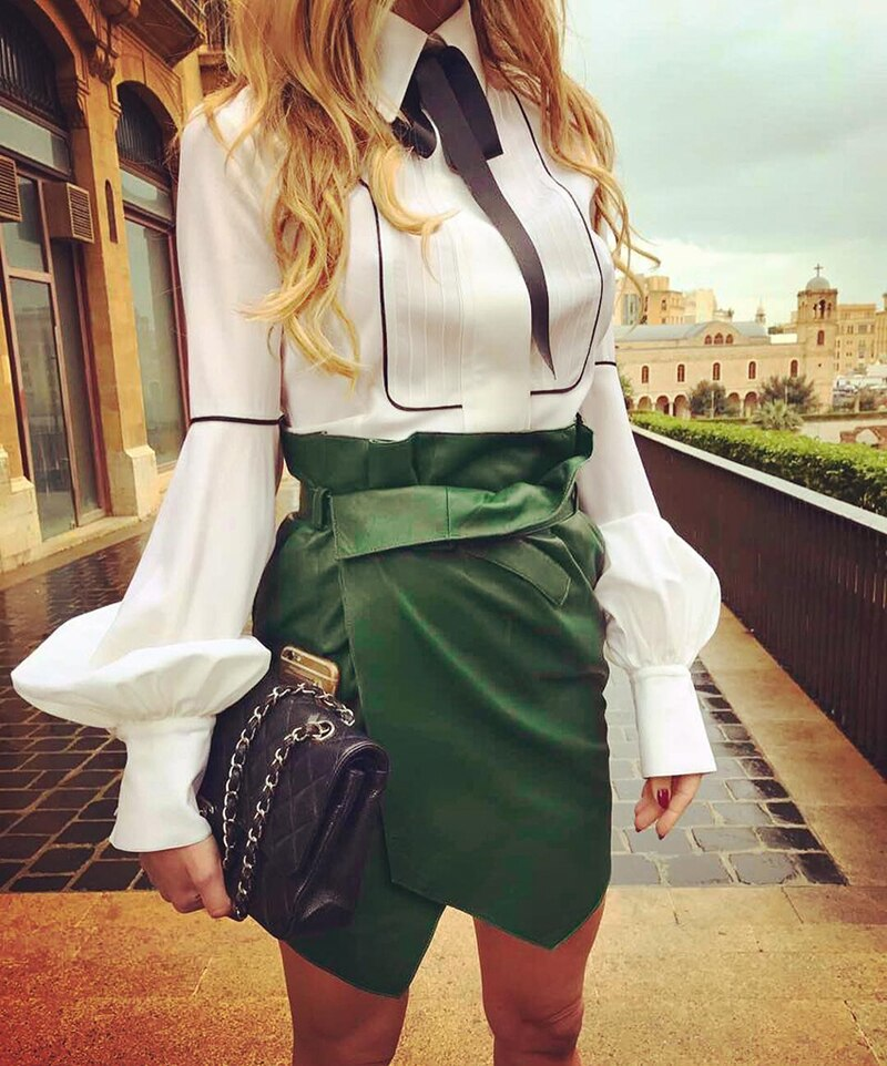 Women Casual Slim Top Puff Sleeve White Blouse Bandage Neck Long Sleeve Tops Shirt Plus Size - GoPositivo