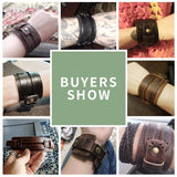 Leather Cuff Double Wide Bracelet Rope Bangles Jewelry Gift - GoPositivo