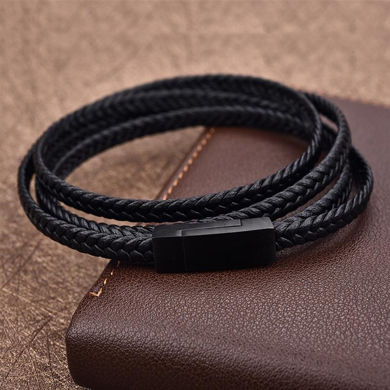 Genuine Leather Bracelet Black Stainless Steel Clasp - GoPositivo