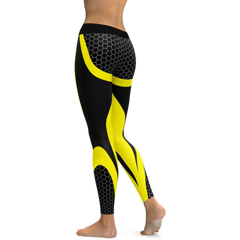 Honeycomb Carbon Yoga Leggings  Elastic Slim Pants - GoPositivo