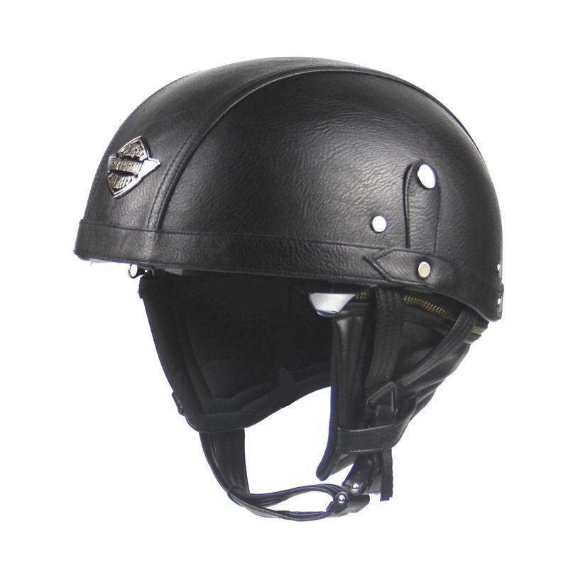 Premium Leather Half Faced Biker Helmet 2018 Edition - GoPositivo
