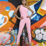 Women Sexy Yoga One Pieces Backless Sports Jumpsuit Set Pink Gym Bodysuit - GoPositivo