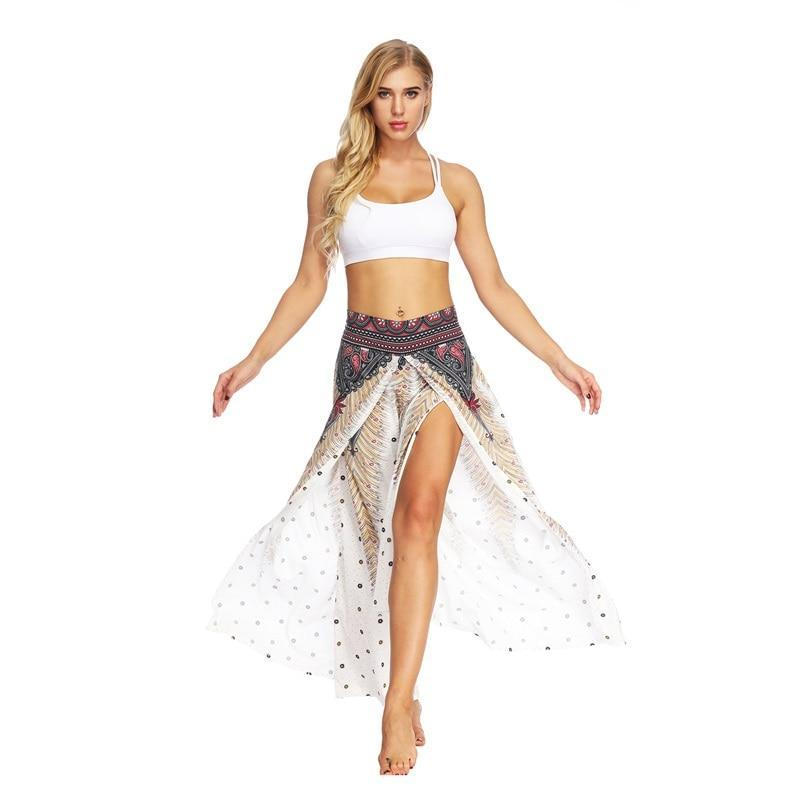 Peacock Feather Wide Leg Bohemian Pants - GoPositivo