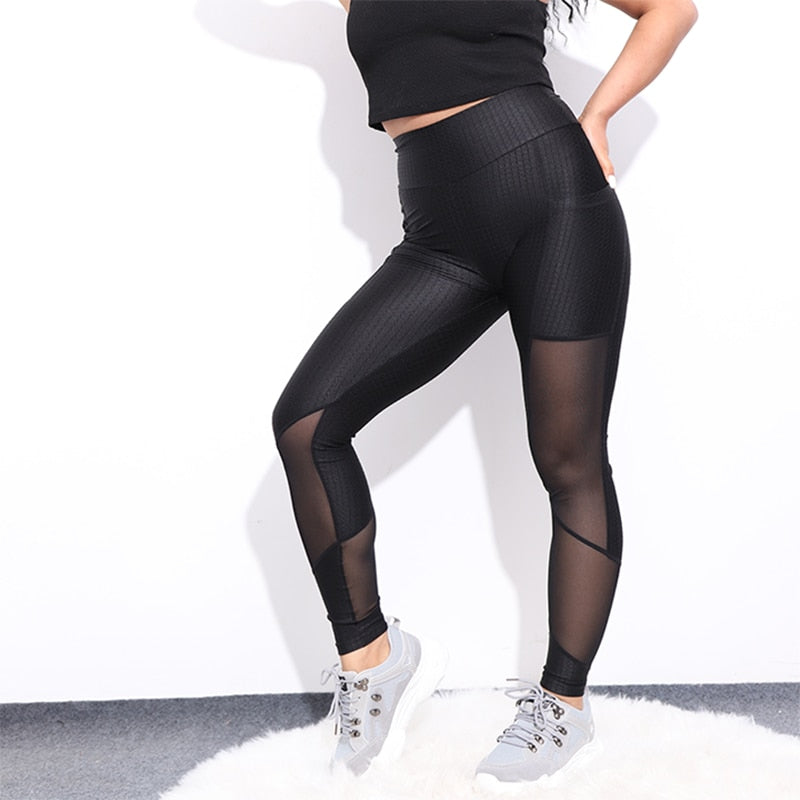 High Waist Mesh Activewear Sexy Push Up breathable Patchwork Fitness Leggings - GoPositivo