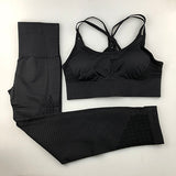 2 Piece Padded Push-up Sports Bra Yoga Set Leggings - GoPositivo
