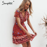 Simplee Bohemian Floral Mini V Neck Ruffle Dress - GoPositivo