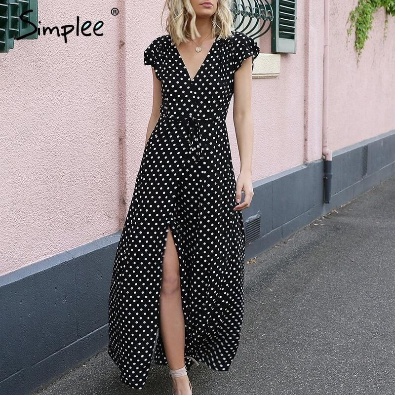 Simplee Deep v neck dots red long women dress Elegant high waist sashes summer dress Sexy maxi black robe femme vestidos 2018 jumpsuit - GoPositivo