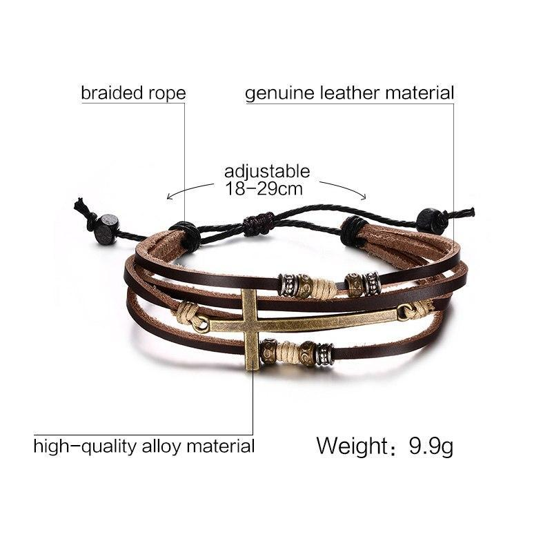 Vnox Genuine Real Leather Cross Bracelets & Bangles For Women Men Jewelry Size Adjustable Bohemia Rope Chain Leather Bracelet - GoPositivo