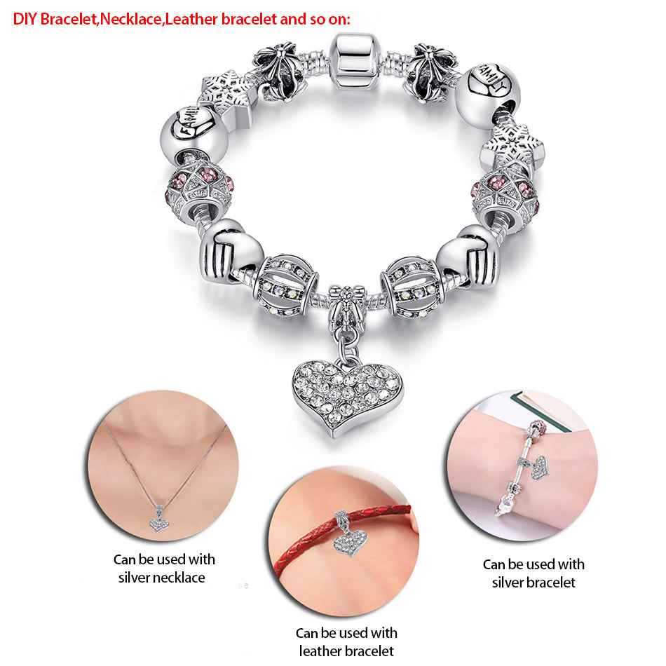 Unique Luxury Silver Crystal Charm Bracelet for Women Jewelry Gift - GoPositivo
