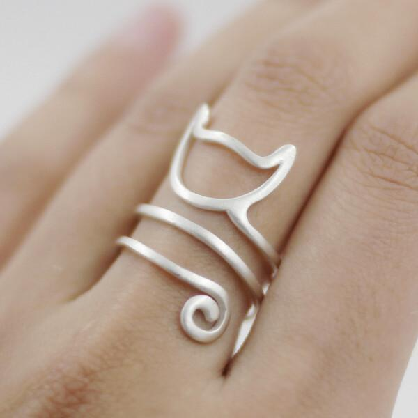 Sterling Silver Twine Cat Ring - GoPositivo