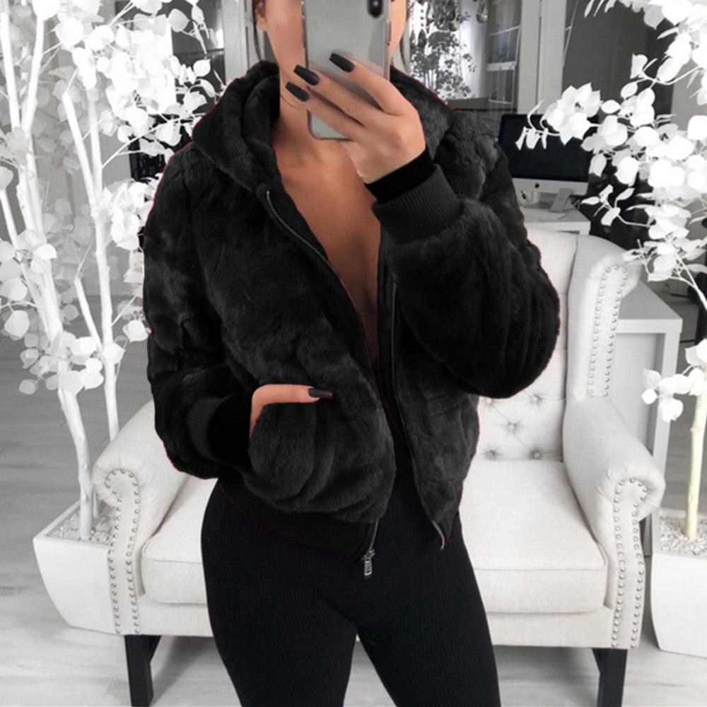 High Waist Fashion Slim Black Faux Fur Jacket Coats - GoPositivo