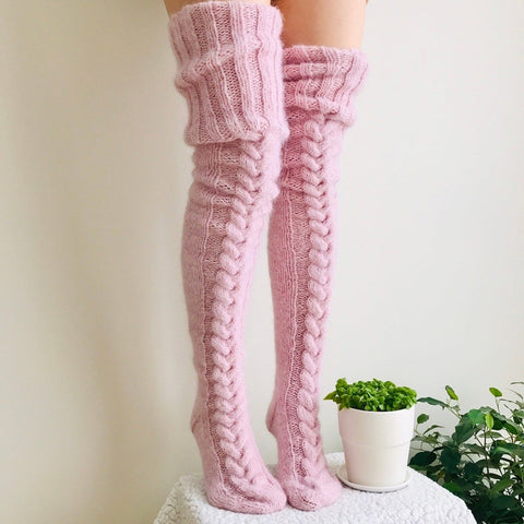 Thigh High Worm Women Winter Sexy Knitted Long Stockings - GoPositivo