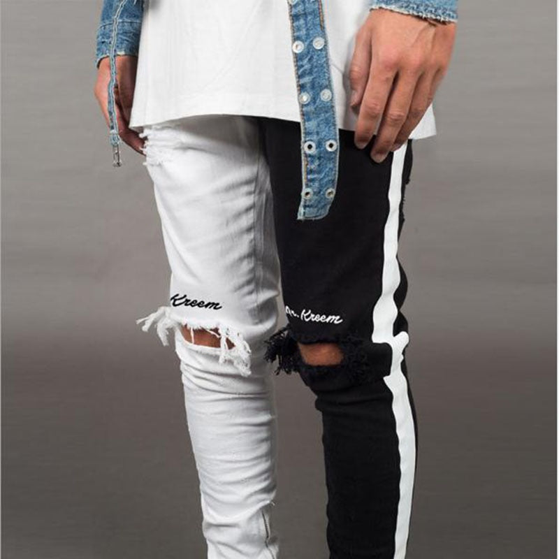Men Casual Biker Hip Hop Vintage 2020 Stretch Denim Slim Fit Skinny Pant - GoPositivo