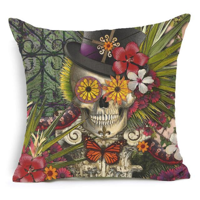 Skull Cushion Cover Cotton 45*45 Cms - GoPositivo