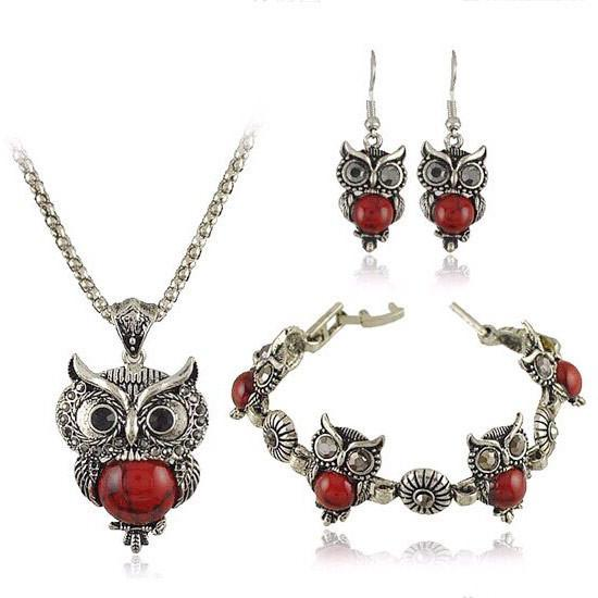 Vintage Crystal Owl 3 in 1 Fashion Set - GoPositivo