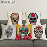 Sugar Skull Cushions Linen Cushion Cover for Pillows 45*45 Cms - GoPositivo