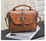 Women's Riveted Biker Leather Hand Bag