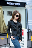 Women's Slim Long Sleeve Short Motorcycle Biker Jacket - GoPositivo