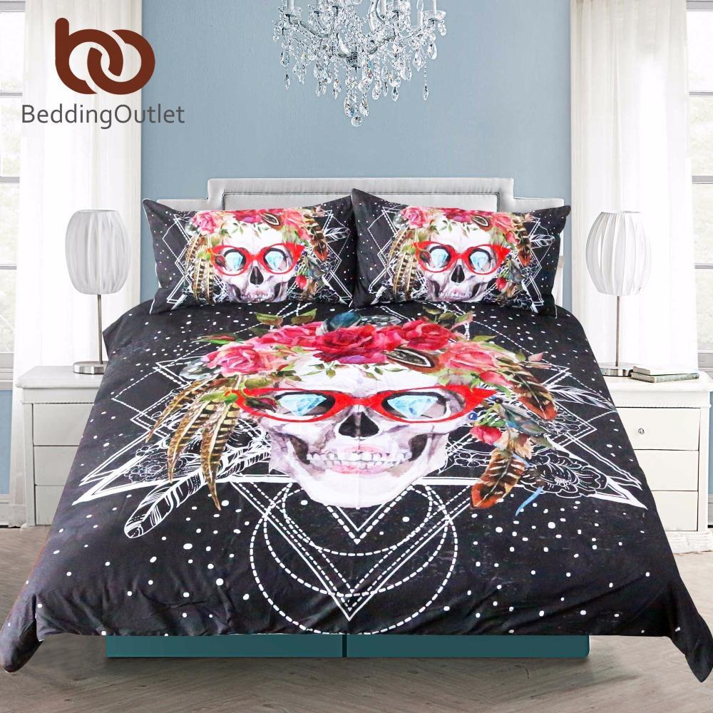Sugar Skull with Glasses Bedding Set Pop Art Duvet Cover Set 3 Pieces - GoPositivo