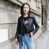 Women's Rugged Biker Leather Jacket - GoPositivo