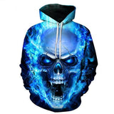 New Blue Flame Skull Hoodies 3D - GoPositivo