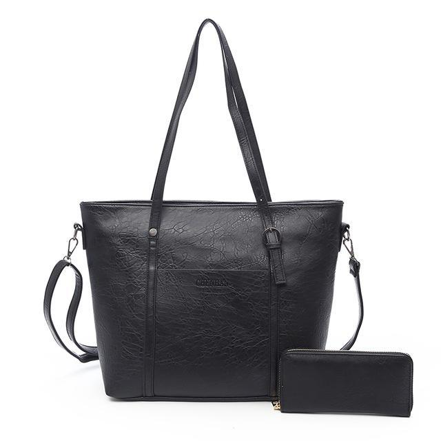 Women's Large Capacity Trapezoidal Biker Handbag with Wallet - GoPositivo