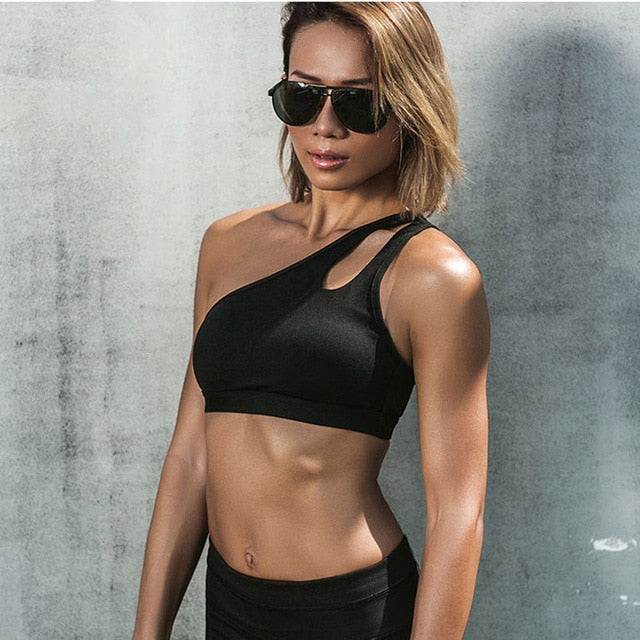 Oblique Shoulder Strap Fitness Sports Yoga Bra - GoPositivo