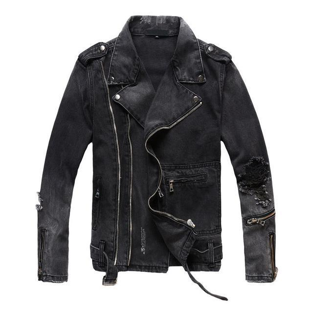 Ripped  Distressed Denim Motorcycle Biker Jeans Jacket - GoPositivo