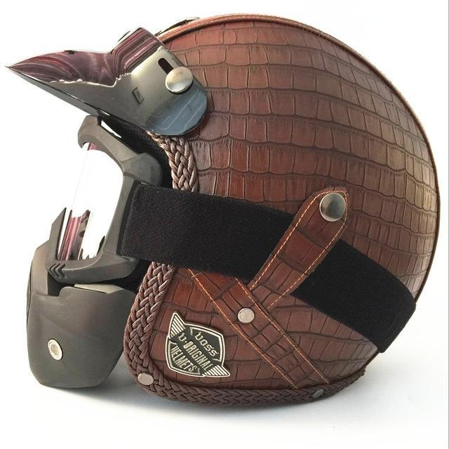 Leather Half Face Open Motorcycle Helmet for Men - GoPositivo