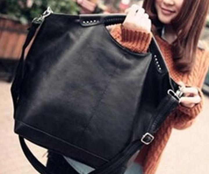 Women's Black Top Riveted Biker Hand Bag - GoPositivo