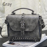 Women's Riveted Biker Leather Hand Bag - GoPositivo