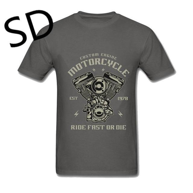 Custom Motorcycle Engine Ride Fast Or Die T-Shirt - GoPositivo