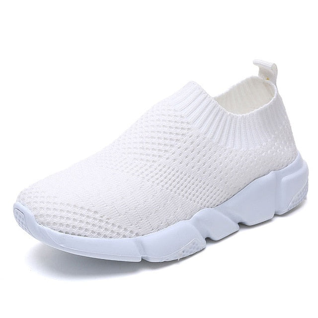 Casual Flyknit Breathable Slip On Flat White Sneakers - GoPositivo