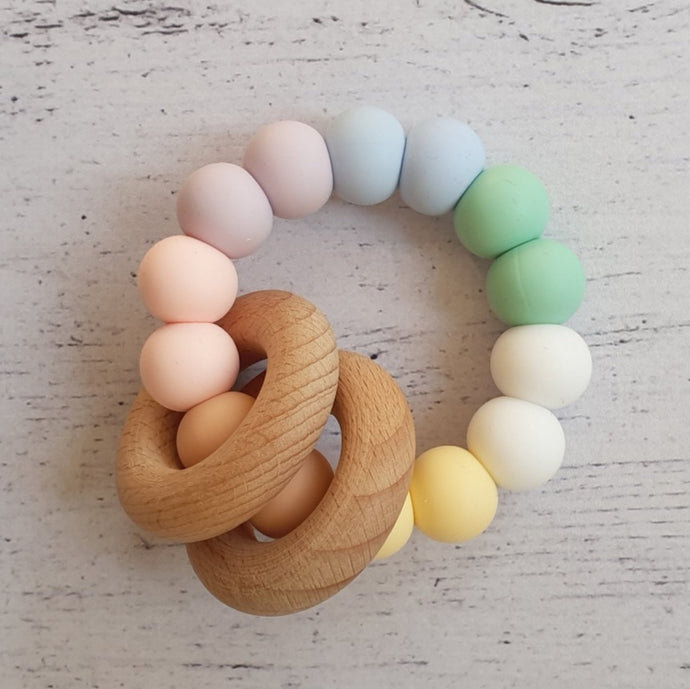 Silicone + Wood Teether - Pastel Rainbow