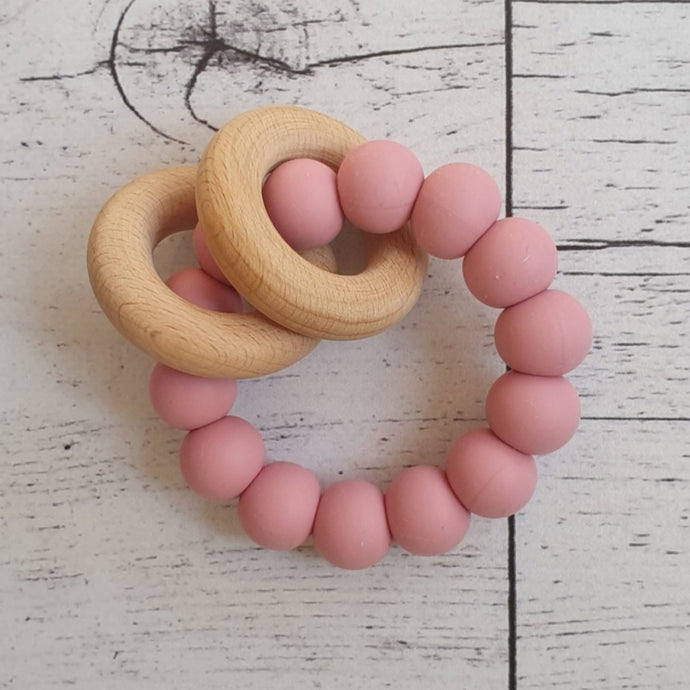 Silicone + Wood Teether - Rose