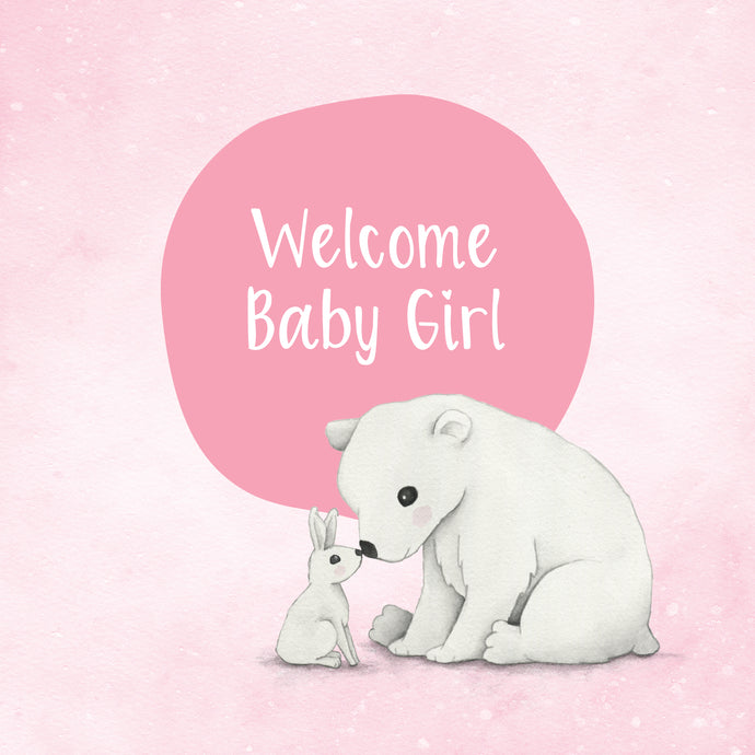 Girl Snow Animals - Greeting Card
