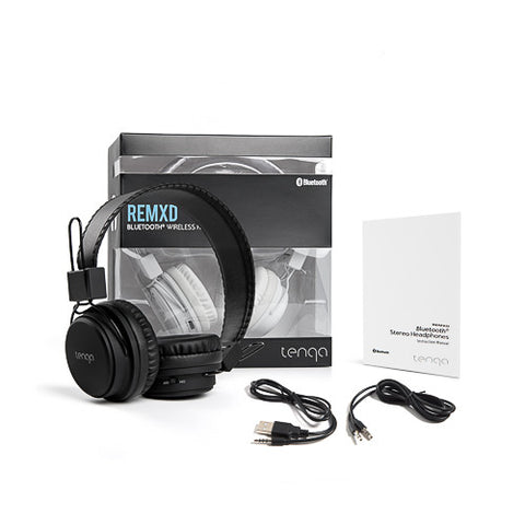 Tenqa On-Ear Wireless Bluetooth Headphones-Black with USB Charging Cables
